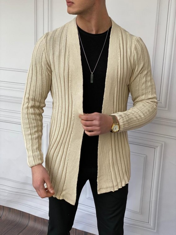 Slim Fit Uzun Model Pamuk Likra Krem Hırka