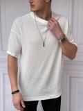 Oversize Kol Detaylı Pamuk Örme Beyaz Tshirt