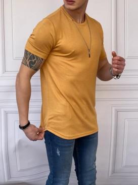 Slim Fit Pamuk Triko Kumaş Sarı Tshırt