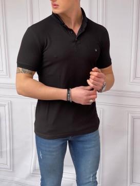 Slim Fit Düğme Detaylı Pamuk Örme Siyah Polo Yaka Tshırt