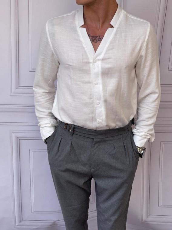 Rahat Kalıp Kirli Beyaz Yaka Yırtmaç Detaylı Keten Gömlek