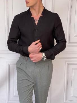 Rahat Kalıp Yaka Yırtmaç Detaylı Siyah Keten Gömlek