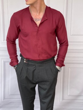 Rahat Kalıp Sıfır Hakim Yaka Bordo Keten Gömlek
