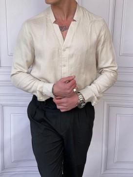 Rahat Kalıp Yaka Yırtmaç Detaylı Bej Keten Gömlek