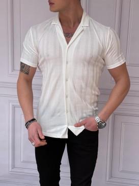 Slim Fit Pamuklu Çizgi Desen Detaylı Kısa Kollu Beyaz Gömlek