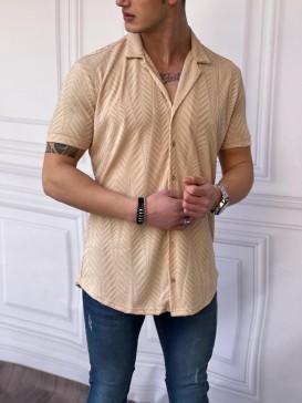 Rahat Kalıp Pamuklu Balıksırtı Model Kısa Kollu Krem Gömlek