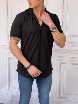 Rahat Kalıp Pamuklu Balıksırtı Model Kısa Kollu Siyah Gömlek
