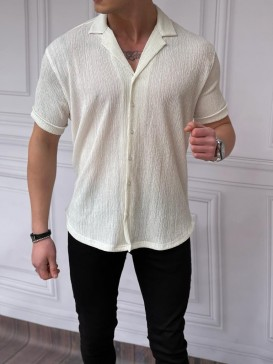 Rahat Kalıp Armur Kumaş Beyaz Kısa Kollu Gömlek