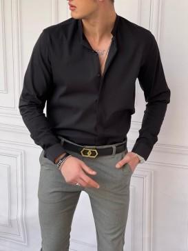 İtalyan Kesim Gizli Kanun Hakim Yaka Pamuk Likra Siyah Gömlek