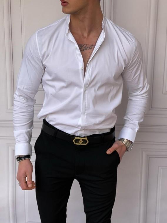 İtalyan Kesim Gizli Kanun Hakim Yaka Pamuk Likra Beyaz Gömlek