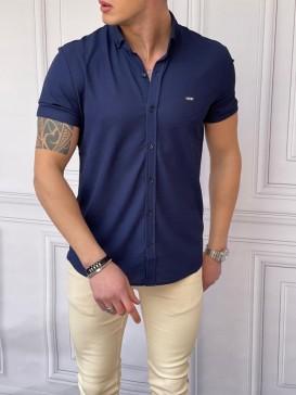 Slim Fit Pamuk Örme Polo Yaka Lacivert Kısa Kollu Gömlek