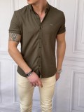 Slim Fit Pamuk Örme Polo Yaka Haki Kısa Kollu Gömlek
