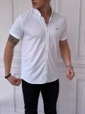 Slim Fit Pamuk Örme Polo Yaka Beyaz Kısa Kollu Gömlek