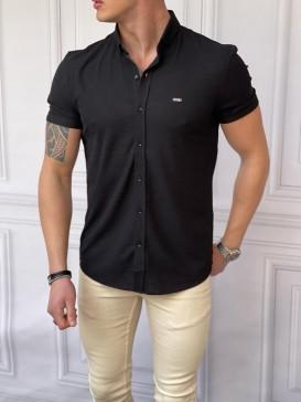 Slim Fit Pamuk Örme Polo Yaka Siyah Kısa Kollu Gömlek