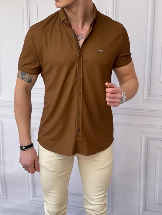 Slim Fit Pamuk Örme Polo Yaka Kahverengi Kısa Kollu Gömlek