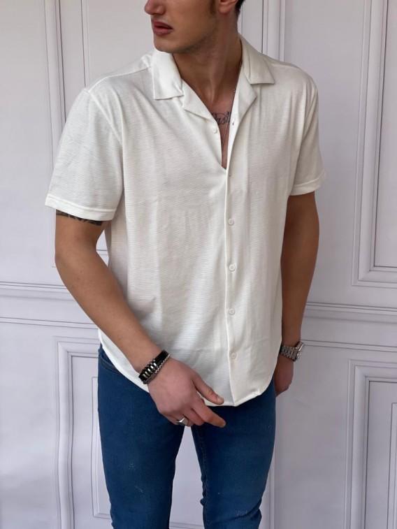 İtalyan Kesim Yan Örme Desenli Kısa Kollu Beyaz Gömlek