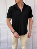 İtalyan Kesim Yan Örme Desenli Kısa Kollu Siyah Gömlek