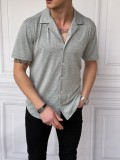 İtalyan Kesim Yan Örme Desenli Kısa Kollu Gri Gömlek
