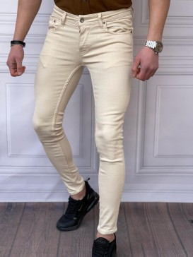 Skinyfit Yüksek Kalite Likralı Krem Kot Pantolon