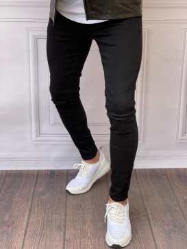 Skinyfit Yüksek Kalite Likralı Diz Yırtık Detaylı Siyah Kot Pantolon