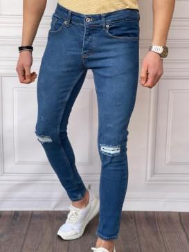 Skinyfit Yüksek Kalite Likralı Diz Yırtık Detaylı Mavi Kot Pantolon
