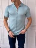 Slim Fit Polo Yaka Triko Pamuk Bebe Mavisi Kısa Kollu Gömlek