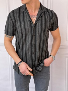 İtalyan Kesim Desenli Pamuklu Siyah Gömlek