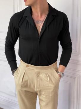 Slim Fit %100 Pamuk Triko Kumaş Siyah Gömlek