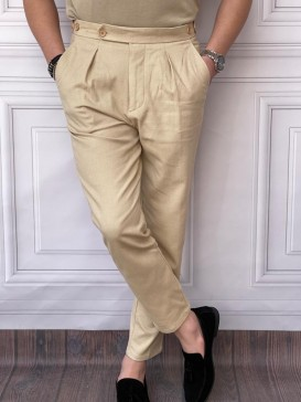 Tek Pile Şalvar Kesim Örme Desen Krem Kumaş Pantolon
