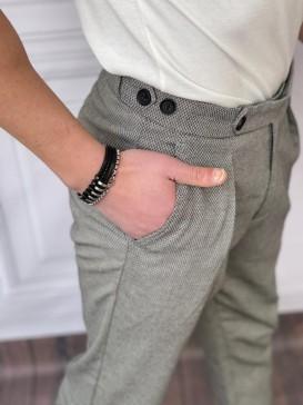 Tek Pile Şalvar Kesim Örme Desen Koyu Gri Kumaş Pantolon