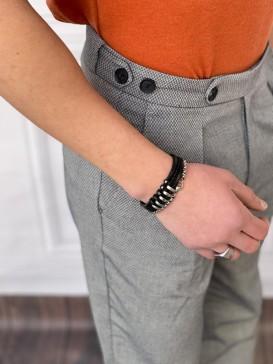 Tek Pile Şalvar Kesim Örme Desen Açık Gri Kumaş Pantolon
