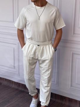 Relaxed Kalıp Alt-Üst Pamuklu Paça Lastik Detaylı Beyaz Eşofman Takımı