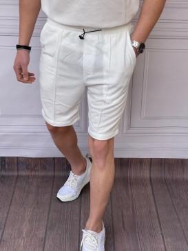 Oversize Alt-Üst Örme Beyaz Bel Lastik Detaylı Kapri Takımı
