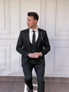 Slim Fit İtalyan Kesim Pamuk Örme Siyah Takım Elbise