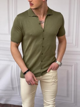 Slim Fit Polo Yaka Triko Pamuk Haki Rengi Kısa Kollu Gömlek