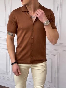 Slim Fit Polo Yaka Triko Pamuk Kahverengi Kısa Kollu Gömlek