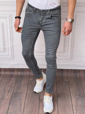 Skinyfit Yüksek Kalite Likralı Düz Renk Antresit Kot Pantolon