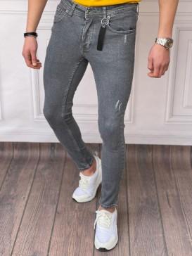 Skinyfit Yüksek Kalite Likralı Lazer Detaylı Antresit Kot Pantolon