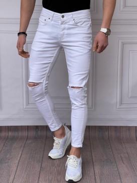 Skinyfit Yüksek Kalite Likralı Diz Yırtık Detaylı Beyaz Kot Pantolon