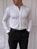 %100 Pamuklu Slimfit Gizli Kanun Hakim Yaka Beyaz Gömlek
