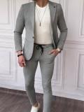 İtalyan Kesim Armur Kumaş Petek Örme Gri Spor Takım Elbise