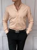 İtalyan Kesim Gizli Kanun Hakim Yaka Pamuk Likra Pembe Gömlek