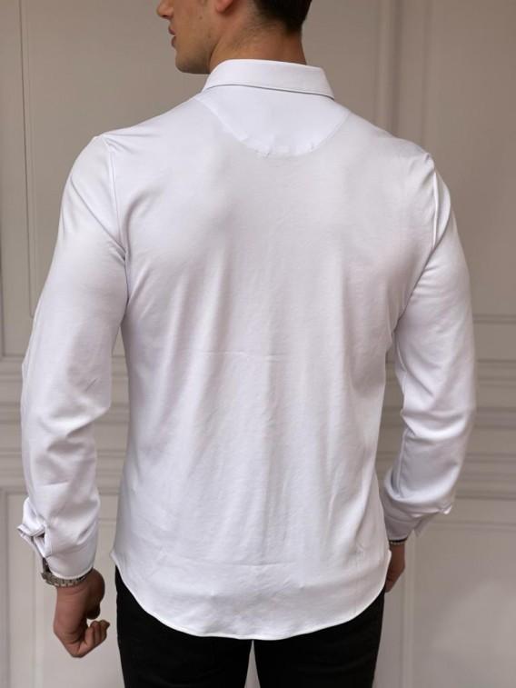 Slim Fit Pamuk Örme Polo Yaka Beyaz Garni Detaylı Uzun Kollu Gömlek