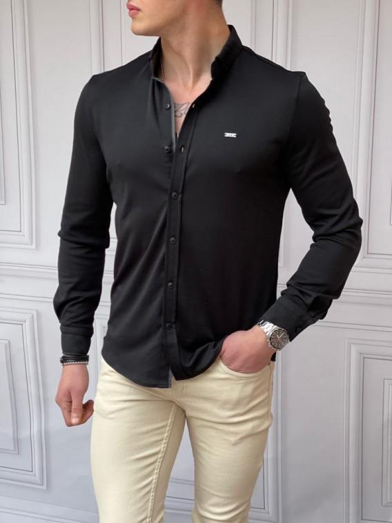 Slim Fit Pamuk Örme Polo Yaka Siyah Garni Detaylı Uzun Kollu Gömlek