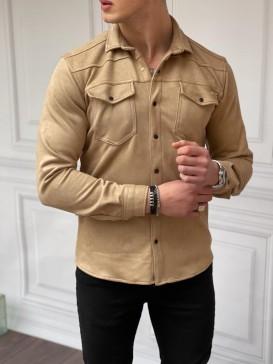 Slim Fit Baharlık Krem Nubuk Gömlek