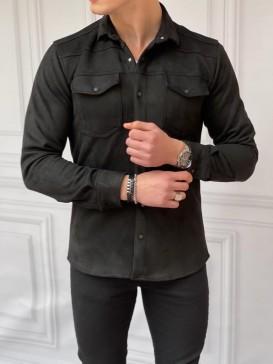 Slim Fit Baharlık Siyah Nubuk Gömlek