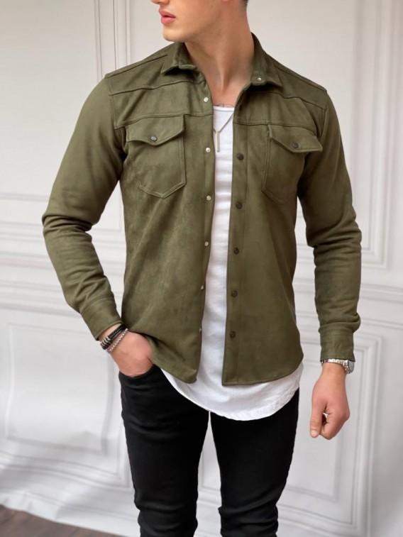 Slim Fit Baharlık Haki Nubuk Gömlek