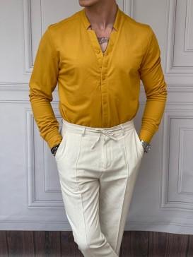 Pamuklu Kesik Yaka Rahat Kalıp Sarı Gömlek