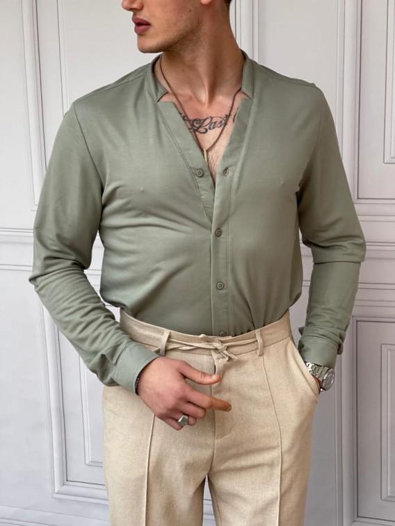 Pamuklu Kesik Yaka Rahat Kalıp Açık Yeşil Gömlek