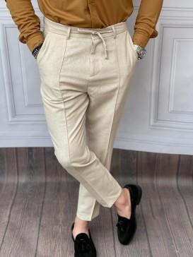 Ham Keten Normal Kalıp İp Ve Çizgi Detaylı Krem Yazlık Pantolon